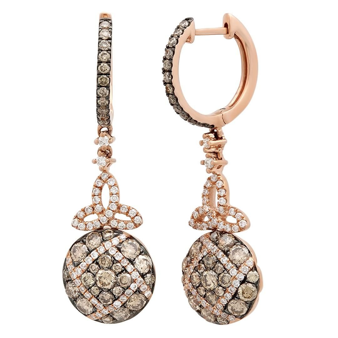 14k Rose Gold 1.65CTW Diamond and Brown Diamonds