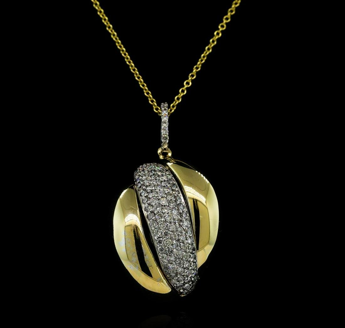 1.01 ctw Diamond Pendant With Chain - 14KT Yellow and