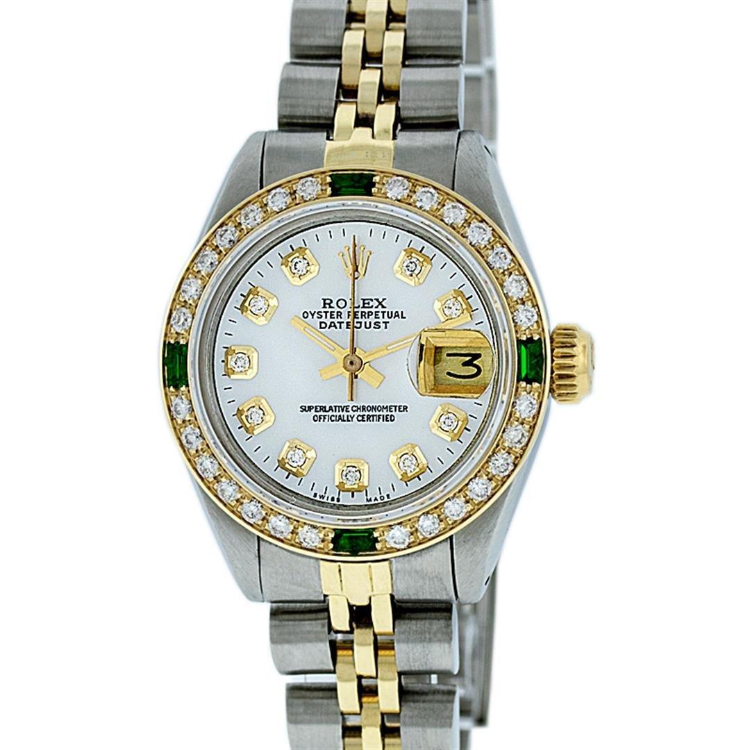 Rolex Ladies 2 Tone White Diamond & Emerald Datejust