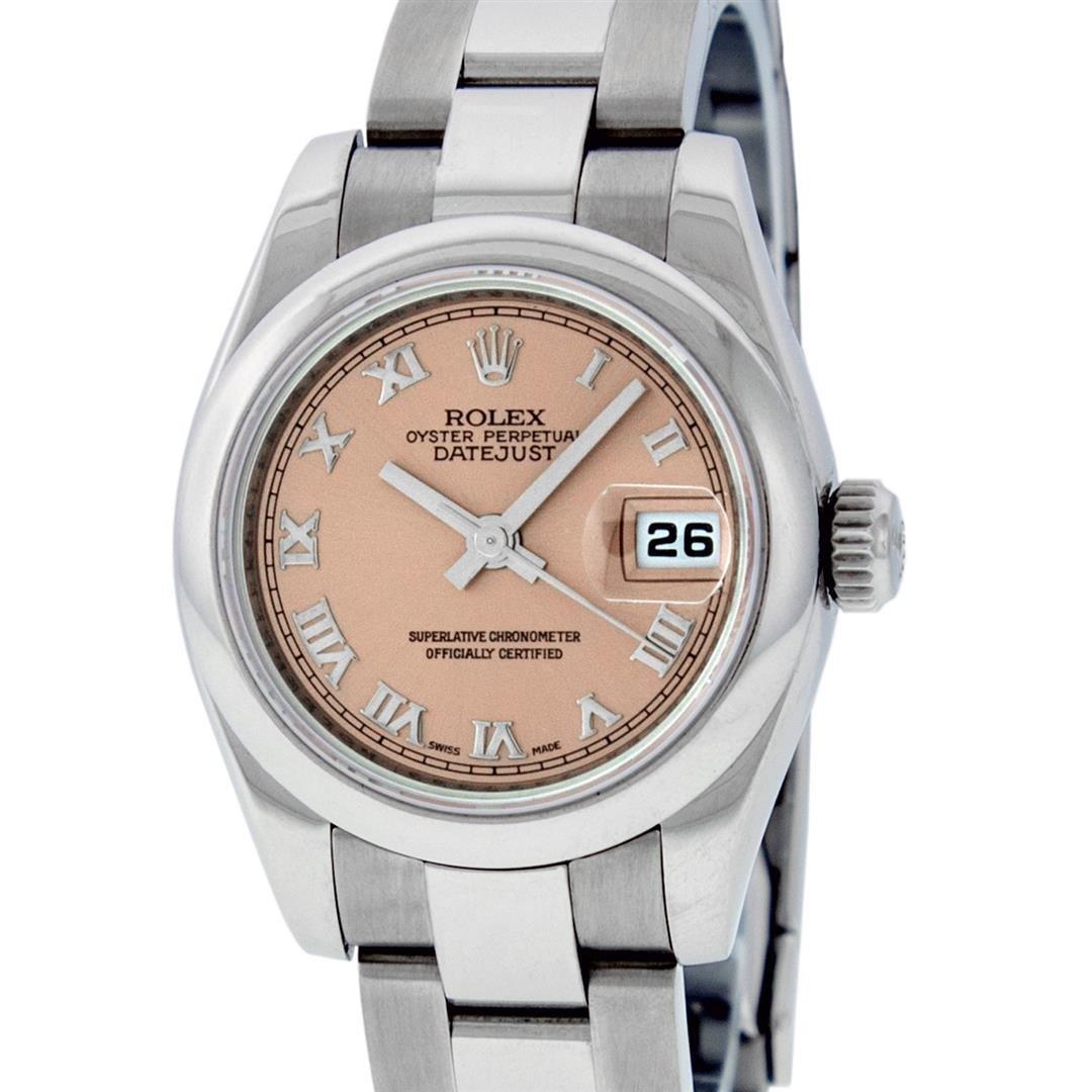 Rolex Ladies Stainless Steel Salmon Quickset Datejust
