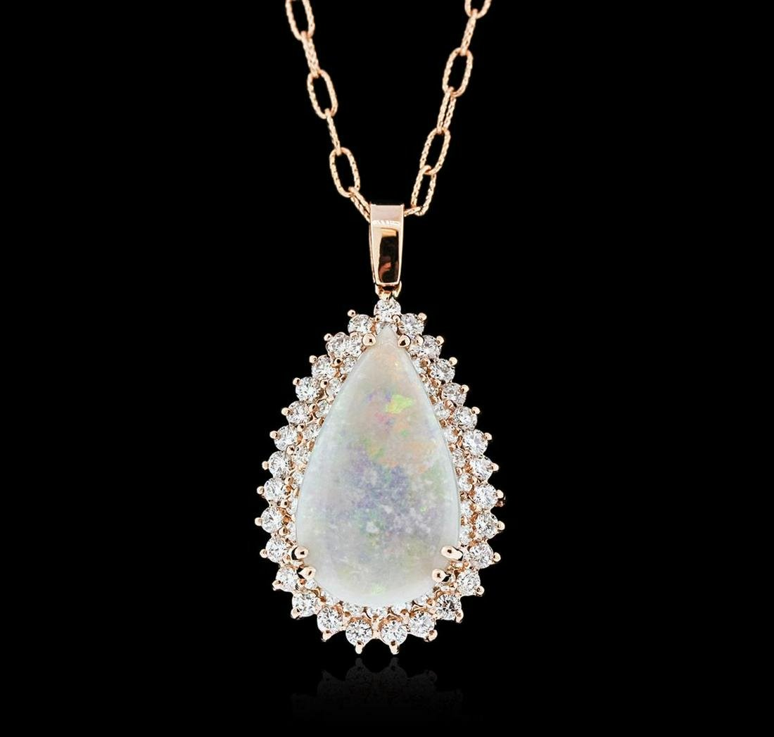 14KT Rose Gold 6.23 ctw Opal and Diamond Pendant With