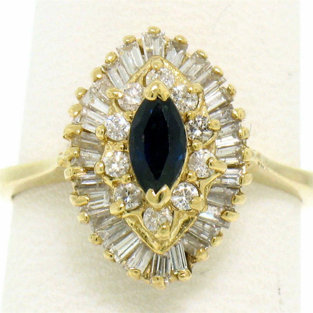 14k Yellow Gold 1.00 ctw Marquise Sapphire Solitaire
