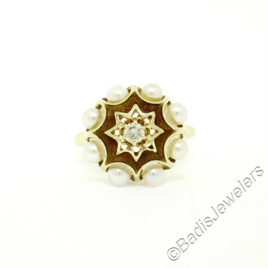 Vintage 14kt Yellow Gold 0.11 ctw Diamond and Pearl