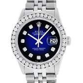 Rolex Mens Stainless Steel Blue Vignette 3 ctw Diamond