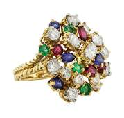 708 ctw Ruby Emerald Sapphire and Diamond Ring