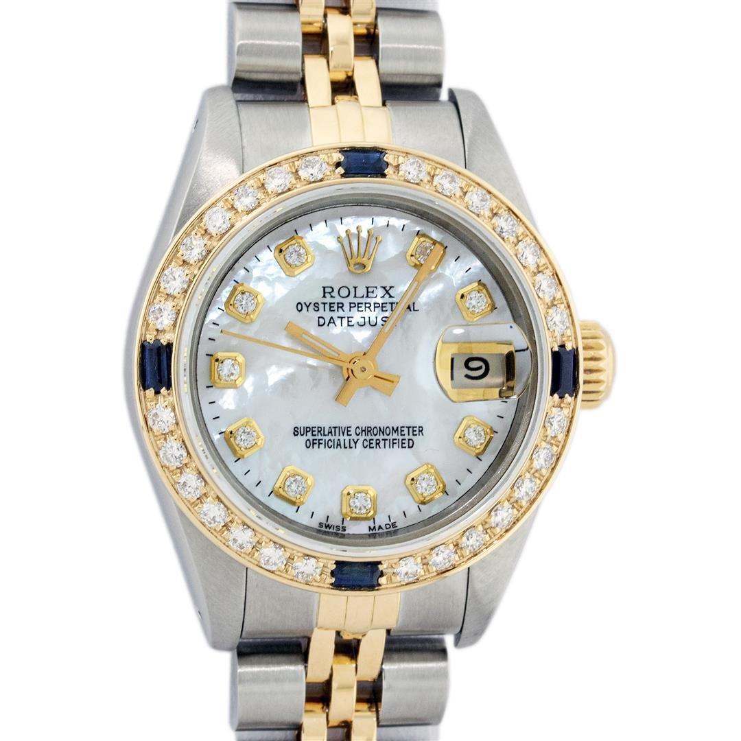 Rolex Ladies 2 Tone 18K Gold Bezel MOP Diamond &