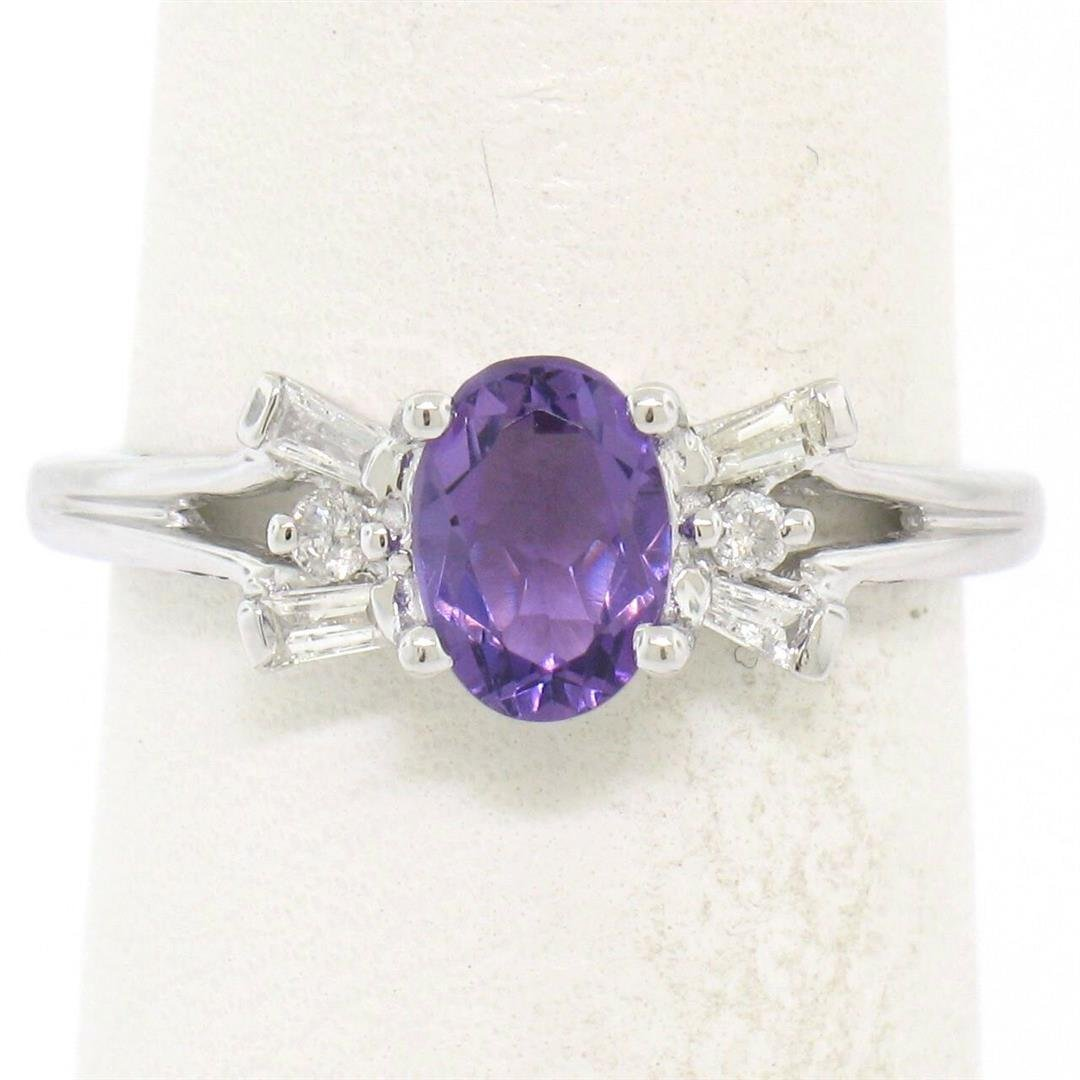 14K White Gold 1.05 ctw Oval Amethyst Solitaire Ring w/