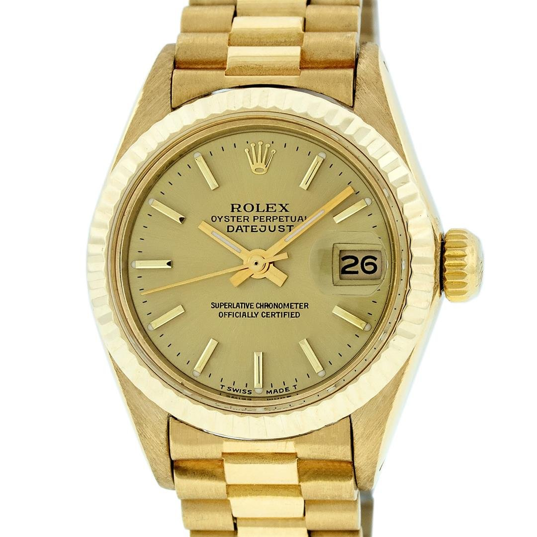 Rolex Ladies 18K Yellow Gold Champagne Index Datejust