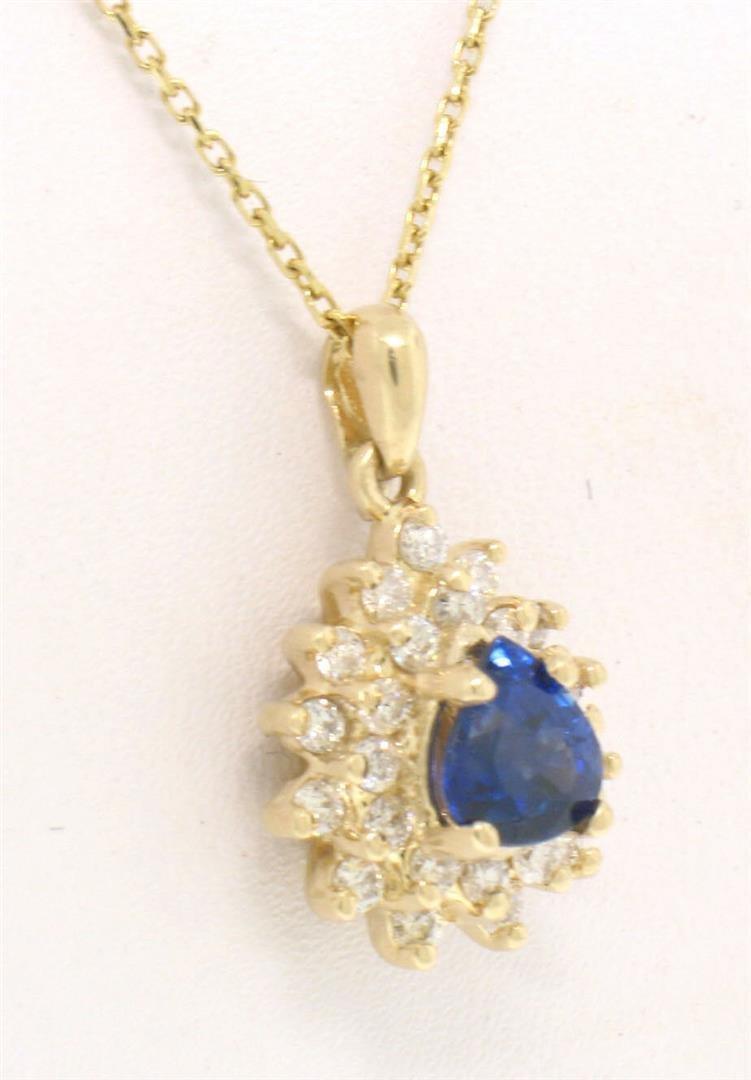 14k Solid Gold Pear Tear Drop ROYAL BLUE Sapphire w/