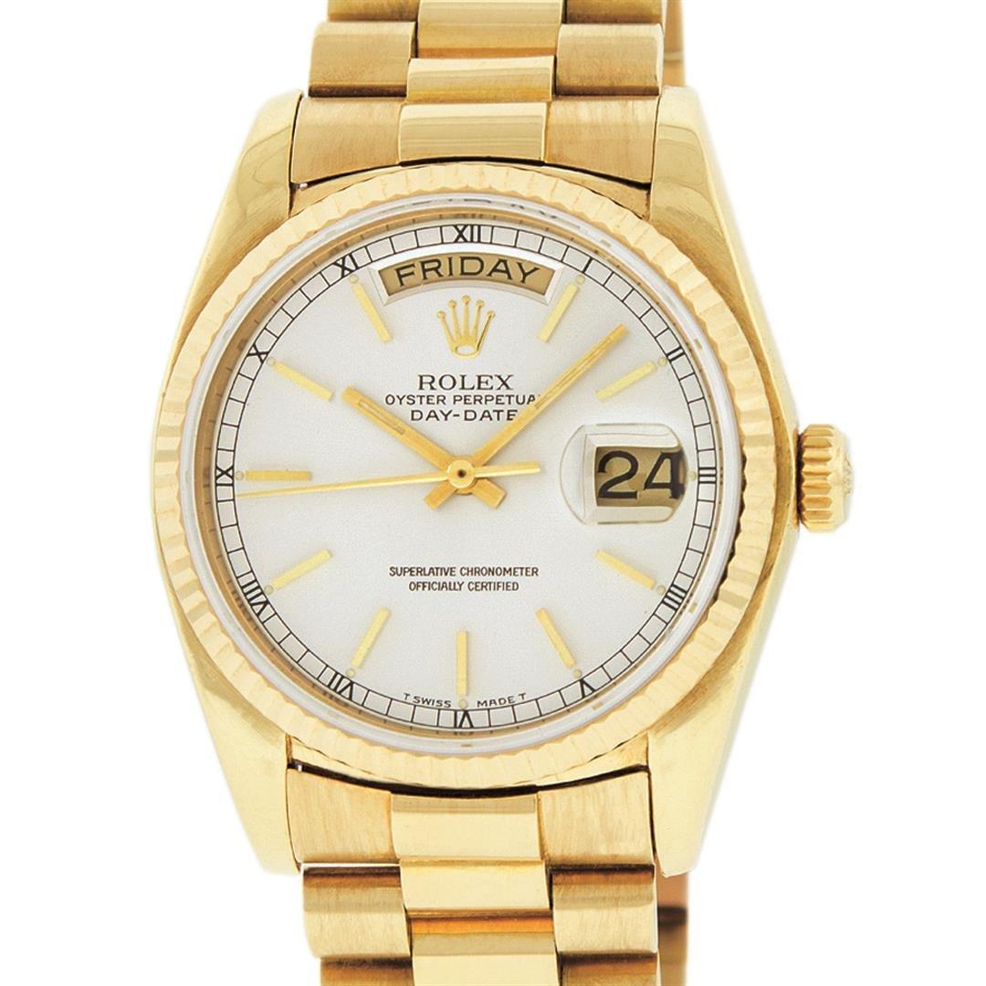 Rolex Mens 18K Yellow Gold Silver Index Quickset