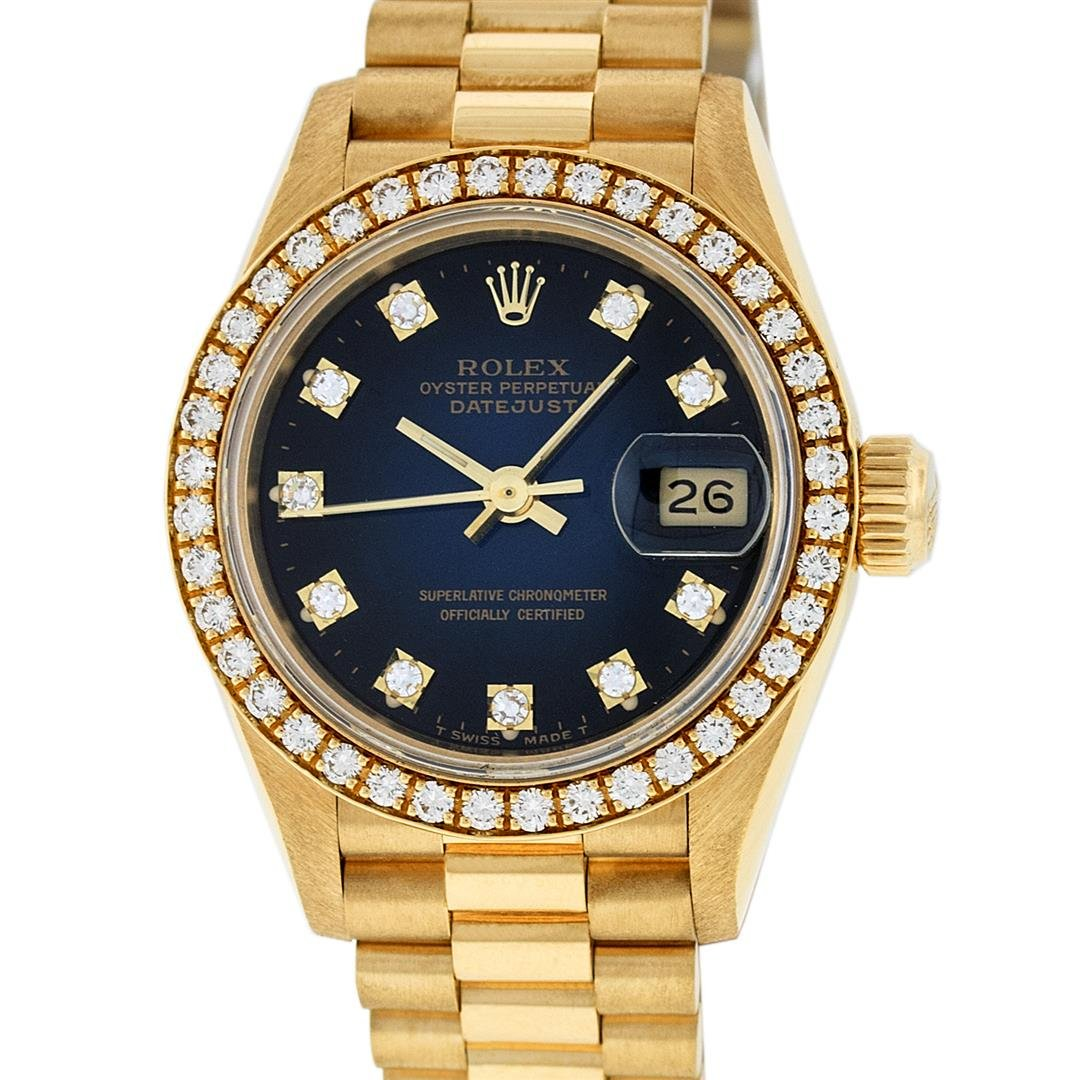 Rolex Ladies 18K Yellow Blue Vignette 1 ctw Diamond