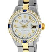 Rolex Ladies 2 Tone 18K Gold Bezel Silver Diamond