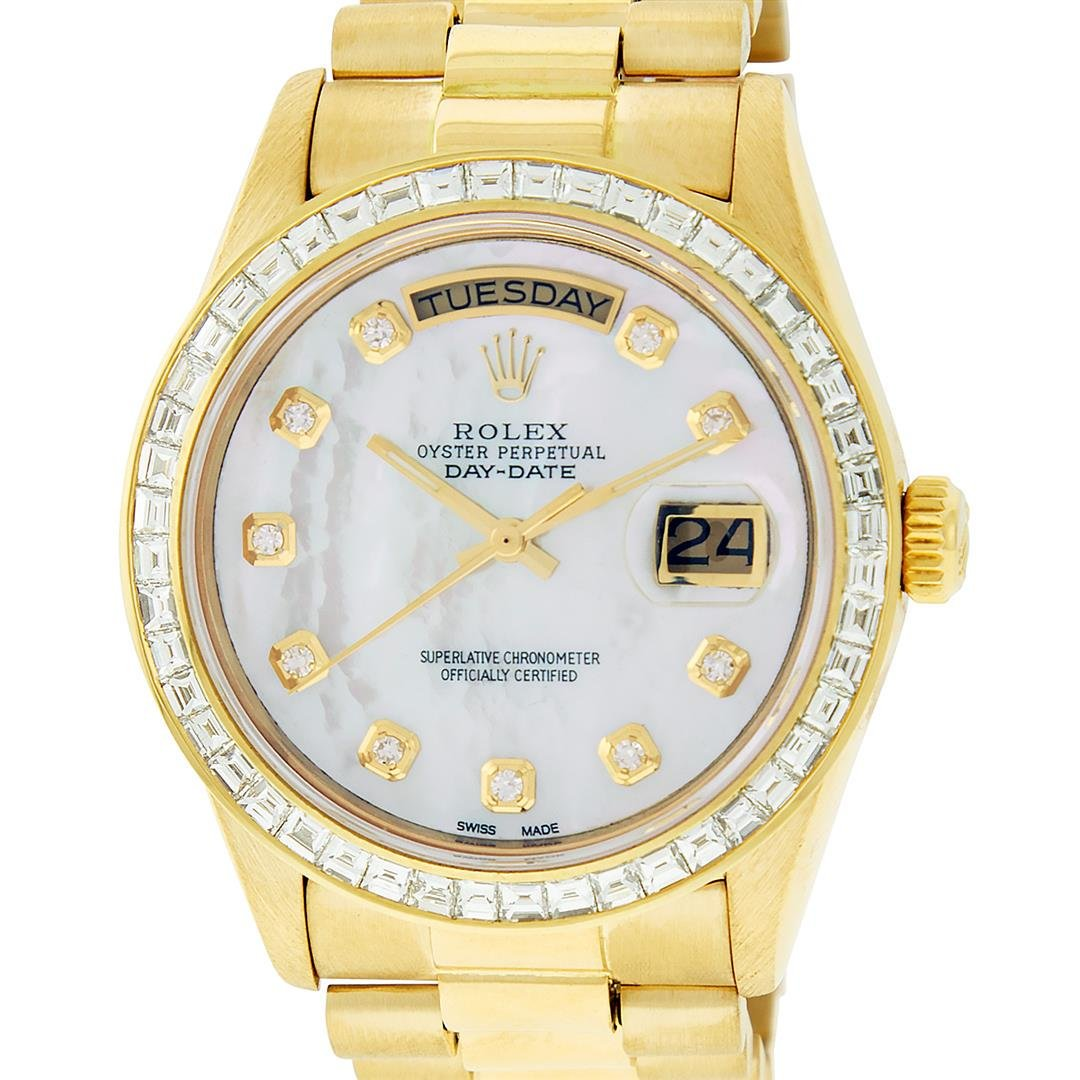 Rolex Mens 18K Yellow Gold 3.0 ctw Baguette Diamond Day
