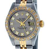Rolex Ladies 2 Tone 14K Slate Grey VS Diamond Datejust