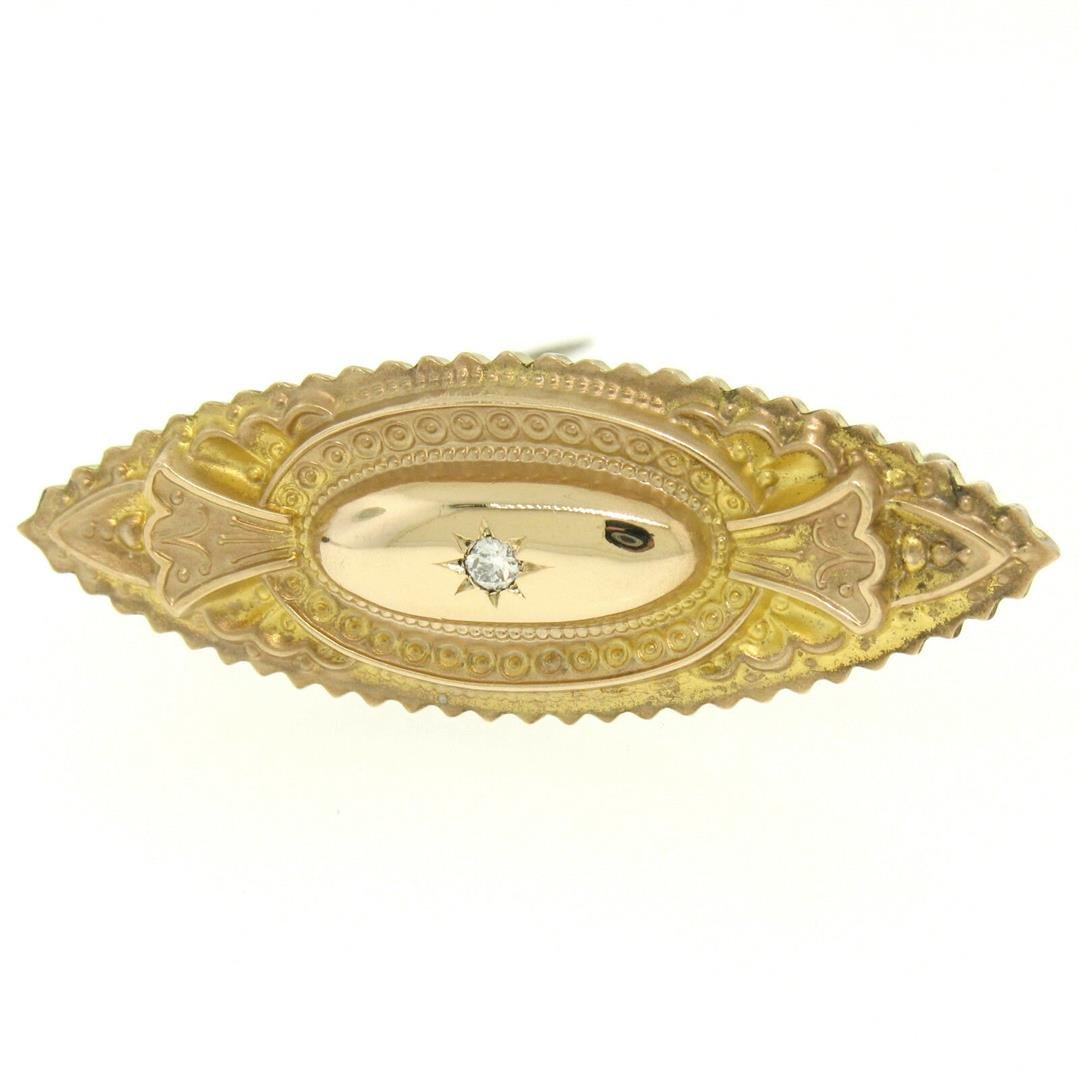 9k Yellow Gold .10 ctw Diamond Marquise Shaped Etched