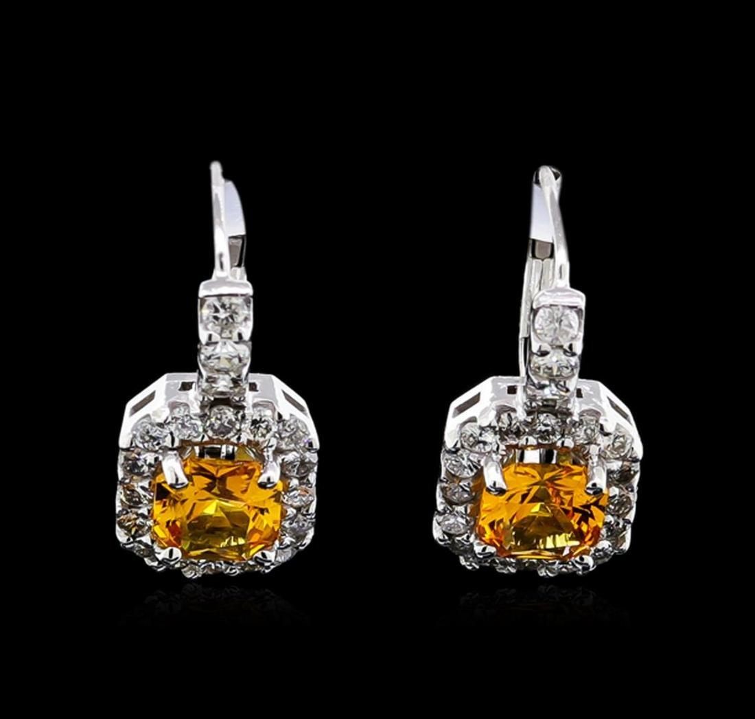 1.50 ctw Yellowish Orange Sapphire and Diamond Earrings
