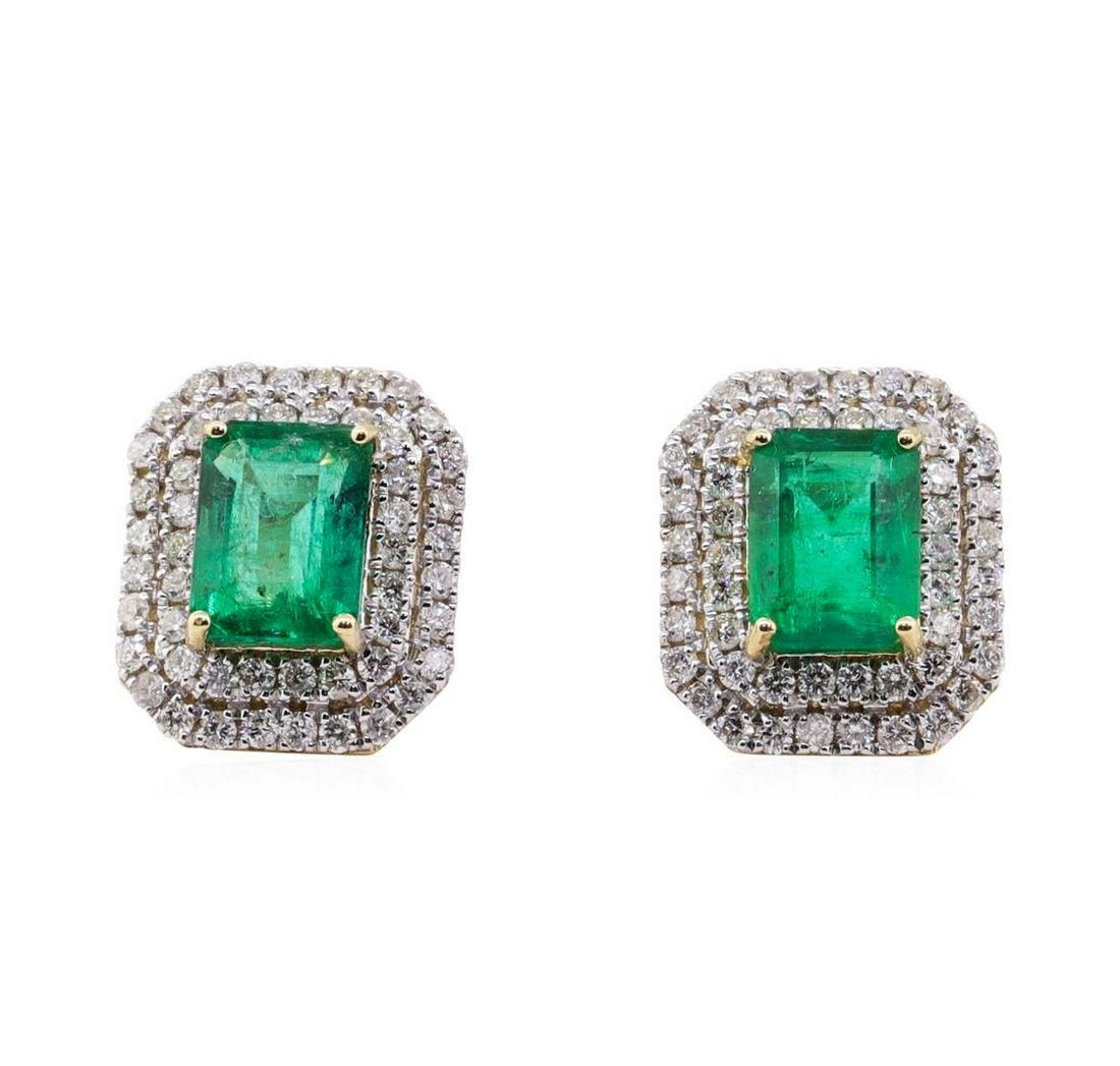 3.57 ctw Emerald and Diamond Earrings - 14KT Yellow