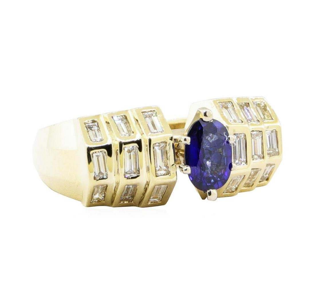 1.76 ctw Sapphire And Diamond Ring - 14KT Yellow Gold
