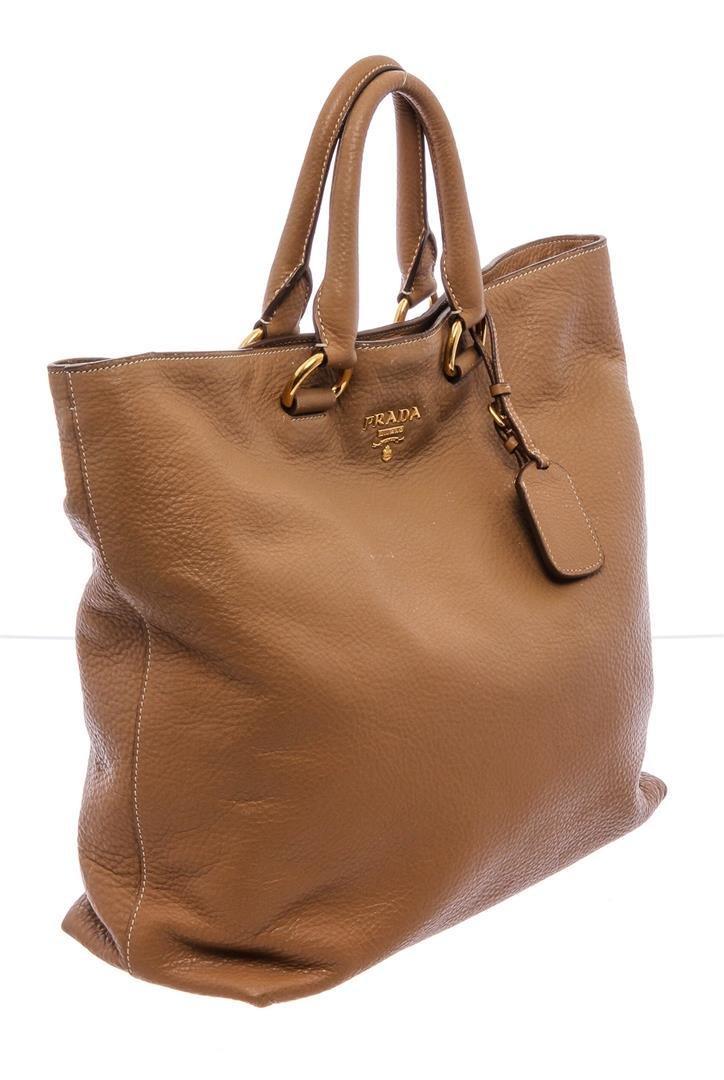 Prada Tan Leather Double Handle Tote Bag