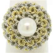 Handmade 18kt Yellow and White Gold Akoya Pearl