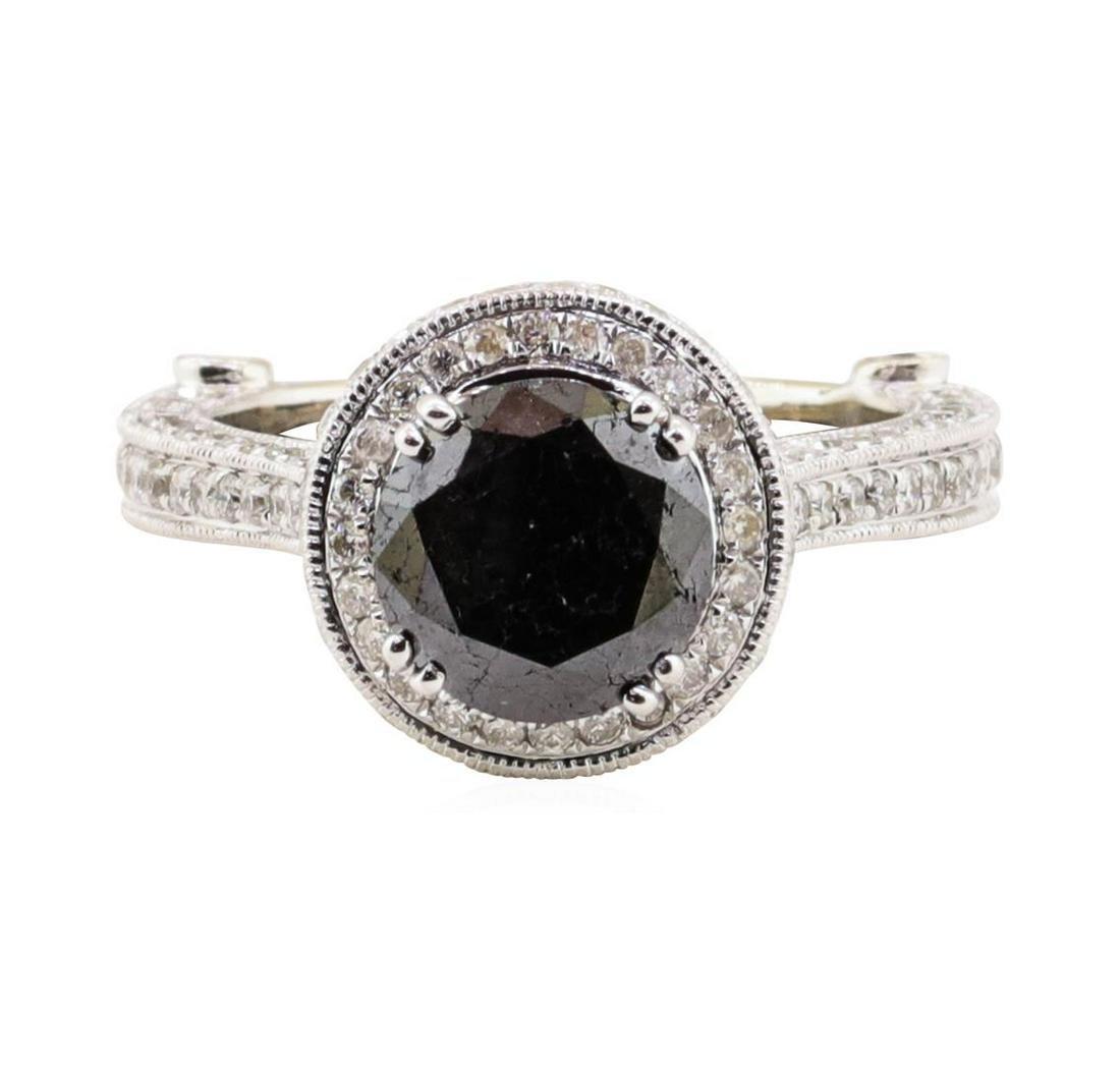 2.40 ctw Black Diamond and Diamond Ring - 14KT White
