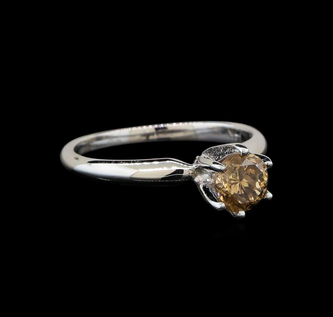 14KT White Gold 0.80 ctw Round Cut Fancy Brown Diamond
