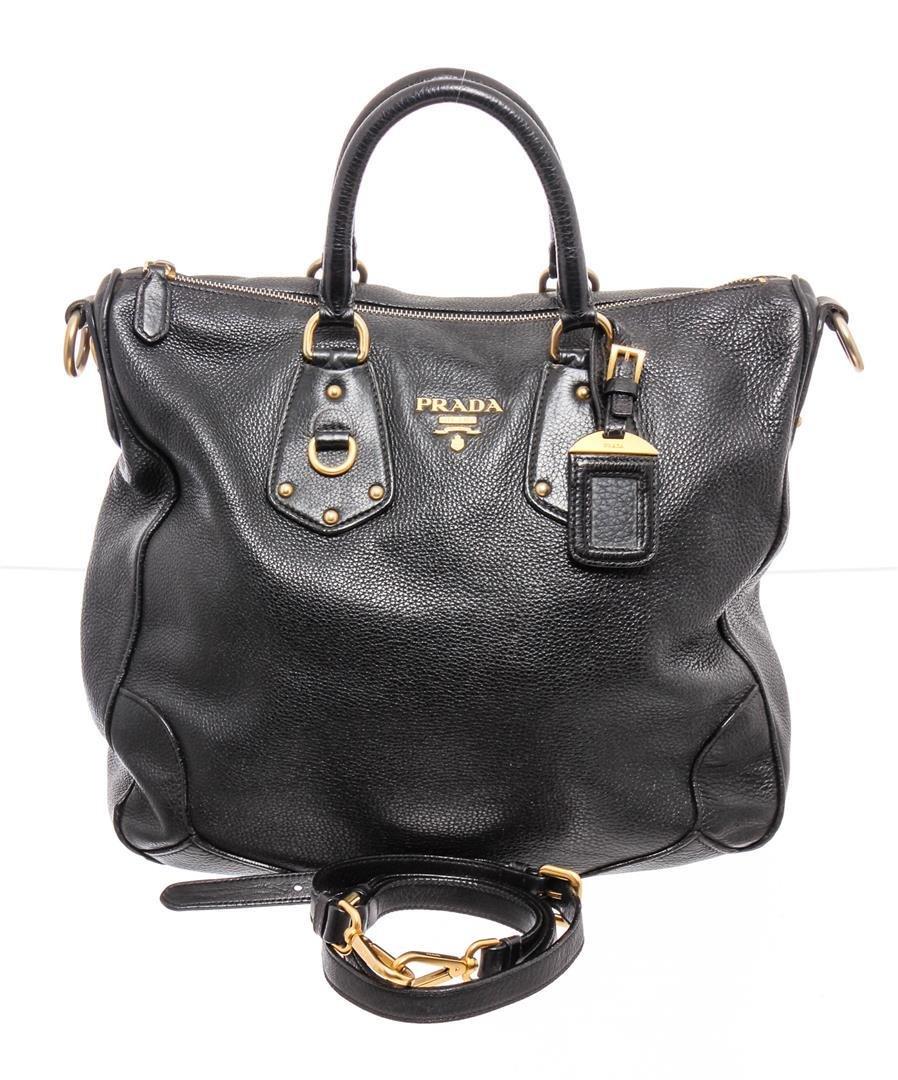 Prada Black Leather Two-Way Tote Bag