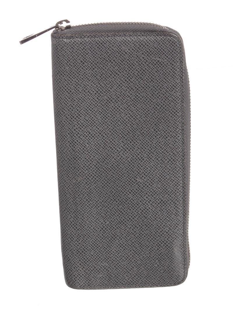 Louis Vuitton Gray Taiga Leather Vertical Zippy Wallet