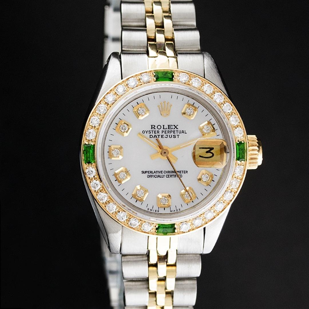 Rolex Ladies 2 Tone MOP Diamond & Emerald Datejust
