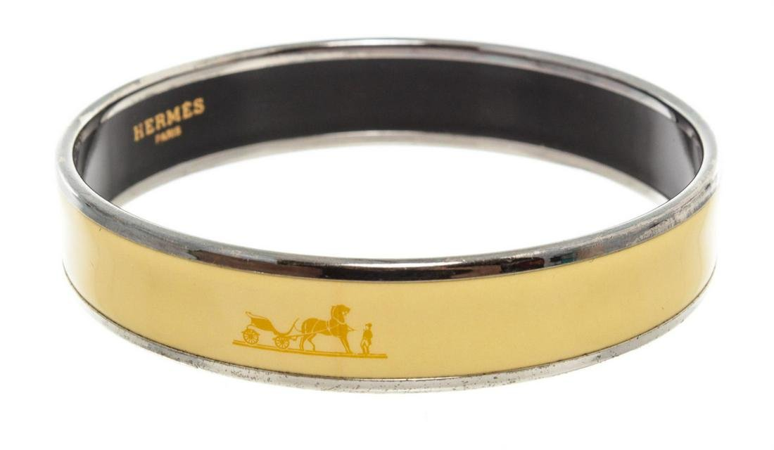 Hermes Yellow Narrow Caleche Bangle Bracelet