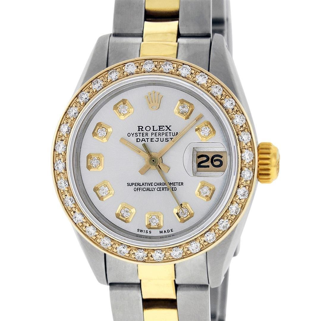 Rolex Ladies 2 Tone 18K Gold Bezel Silver Diamond 26MM
