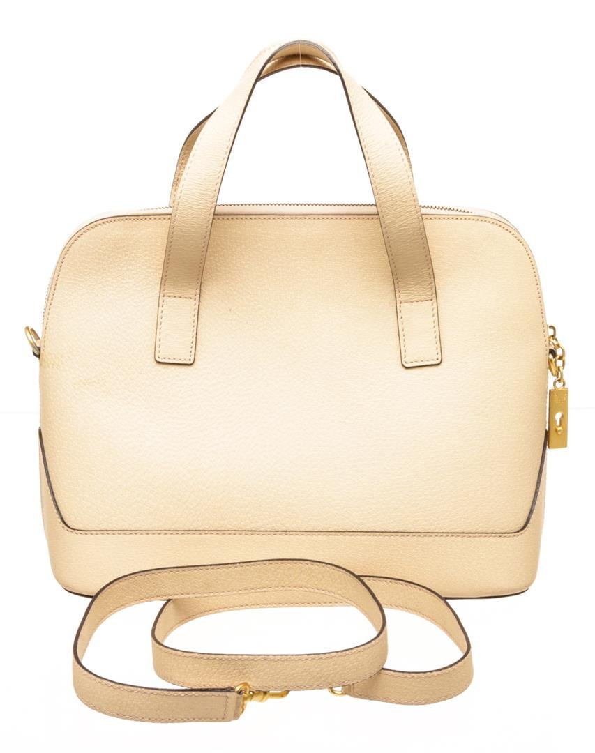 Celine Vintage Cream Textured Leather Tote Shoulder Bag