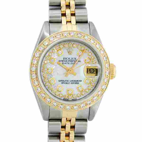 Rolex Ladies 2 Tone 18K Gold Diamond Bezel MOP String