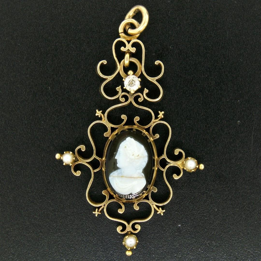 Antique Victorian 14kt Yellow Gold Cameo and Diamond