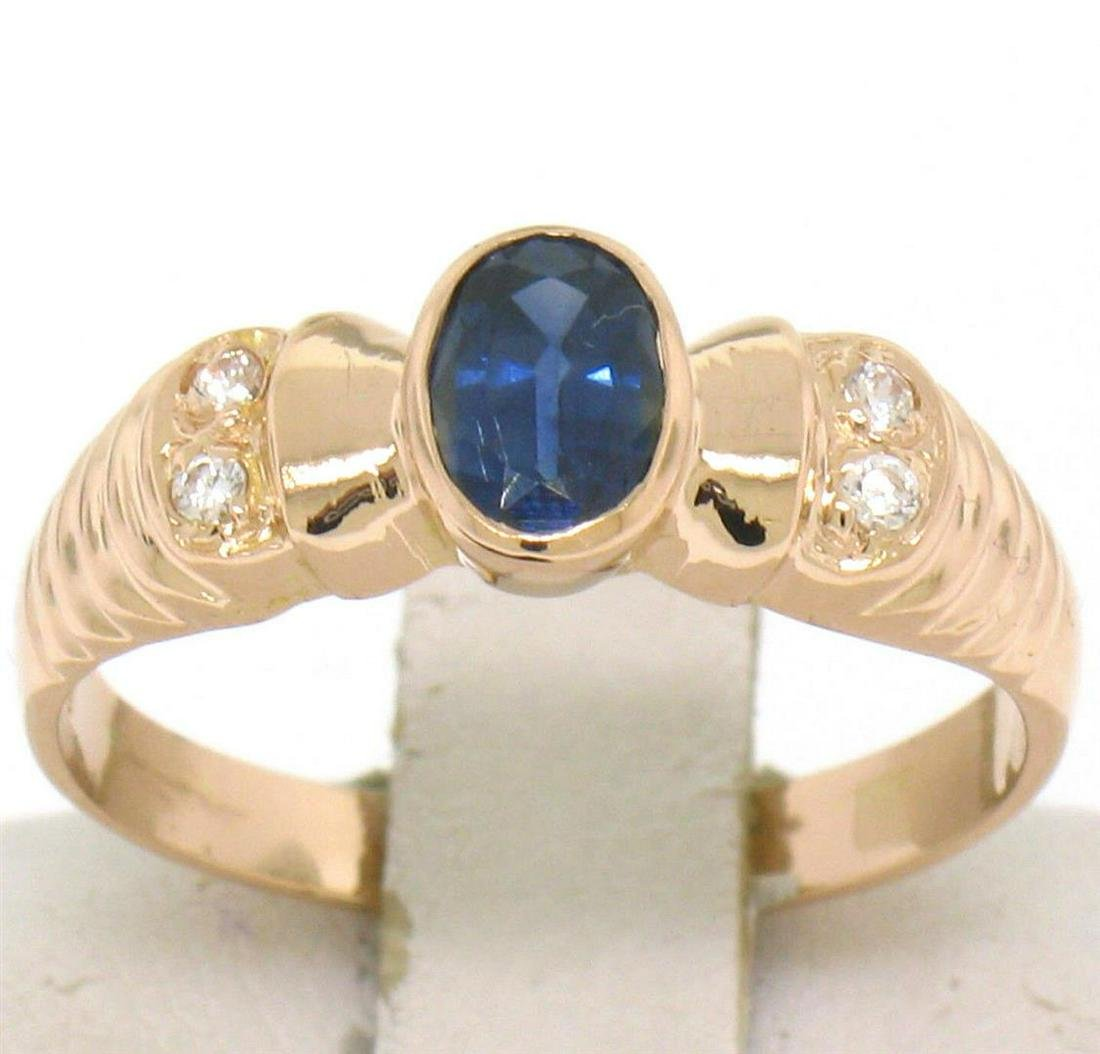 Vintage 18kt Rose Gold 0.68 ctw Sapphire and Diamond