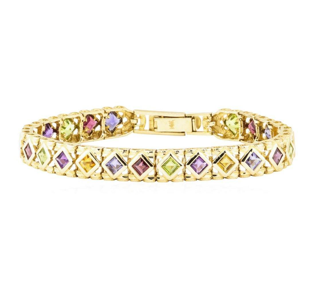 12.00 ctw Multi-Color Gemstone Bracelet - 14KT Yellow