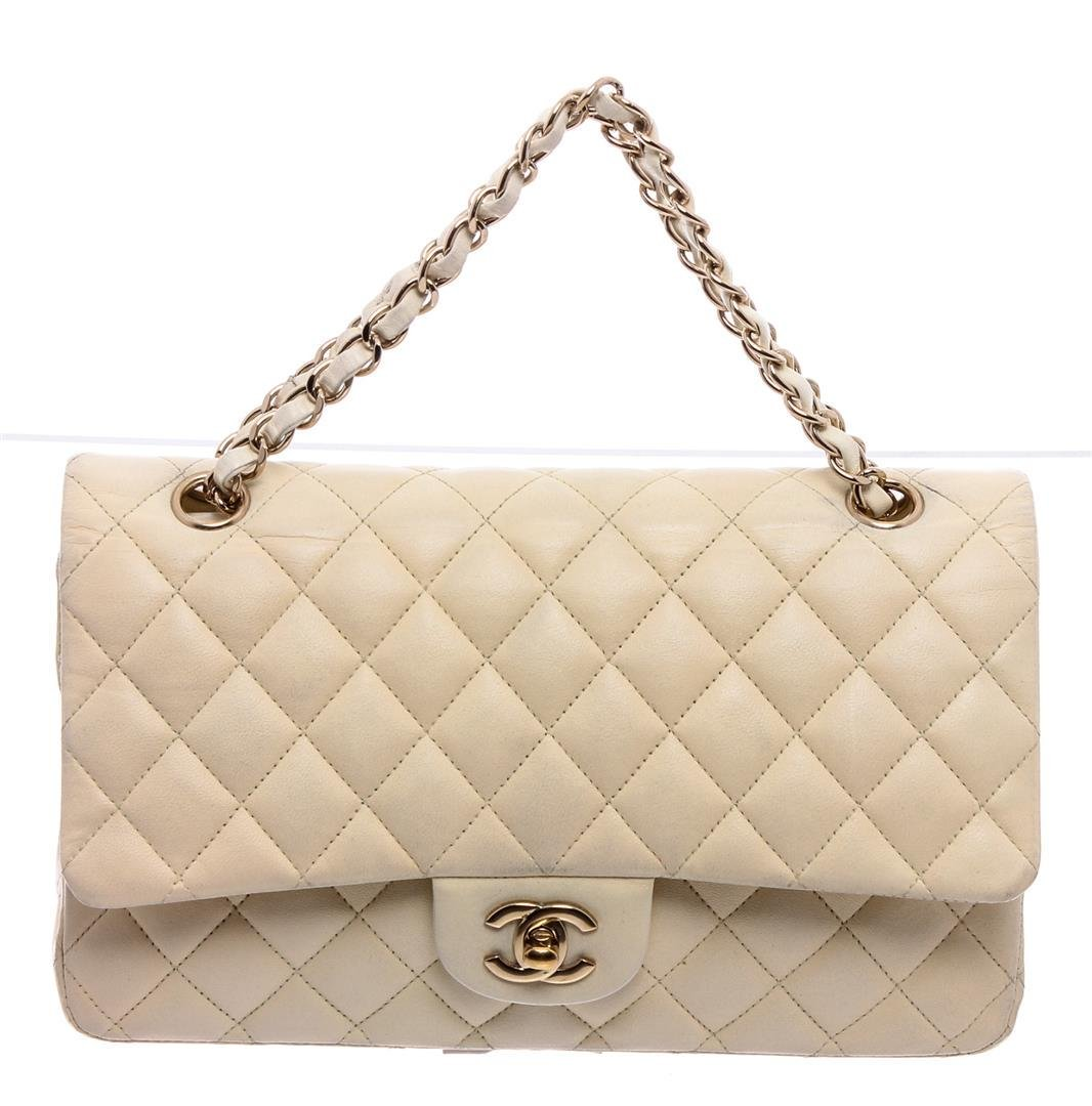 Chanel Off White Quilted Leather Medium Double Flap Bag