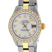Rolex Ladies 2 Tone 18K Gold Bezel Silver Diamond 26MM