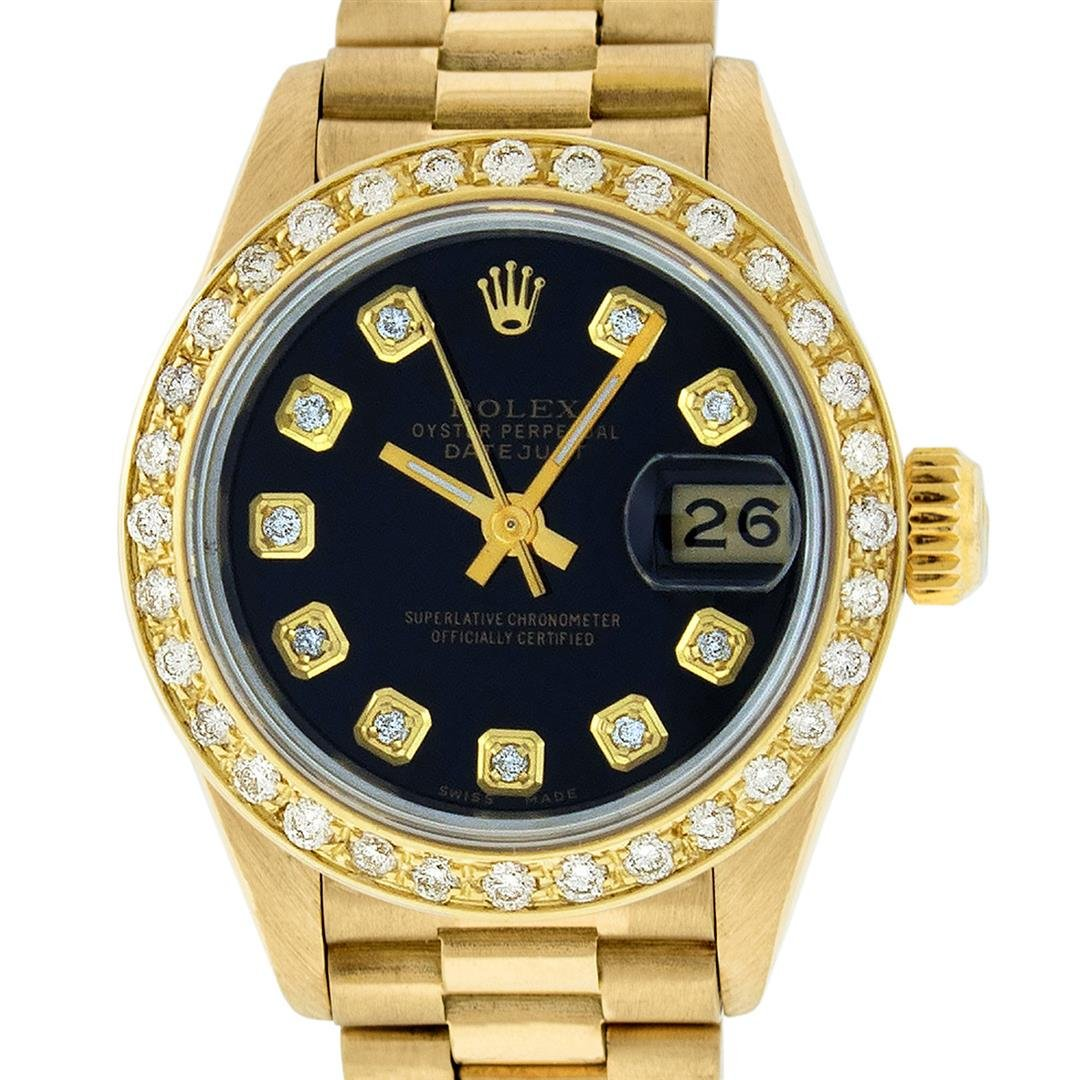 Rolex Ladies 18K Yellow Black Diamond President