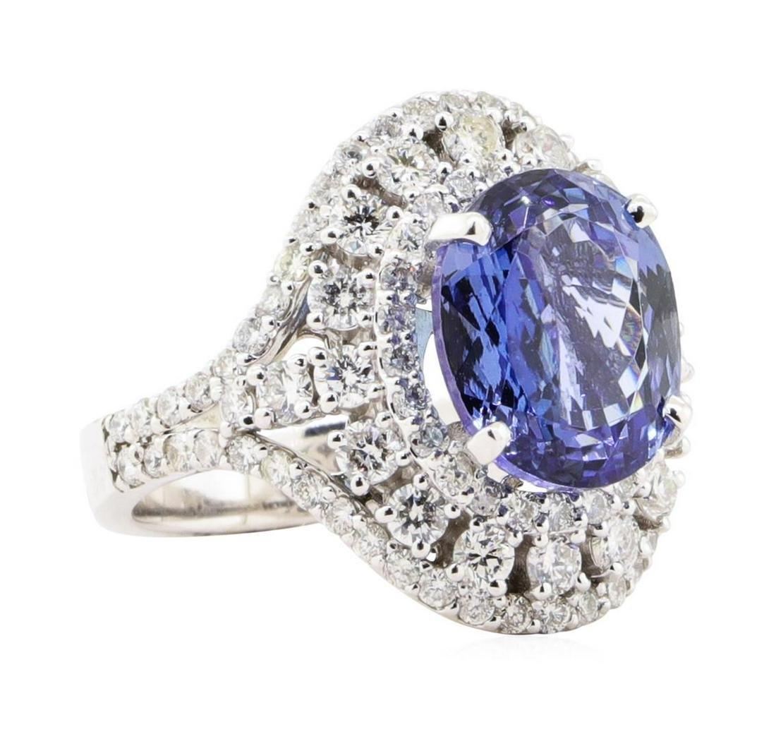 7.72 ctw Tanzanite And Diamond Ring - 14KT White Gold