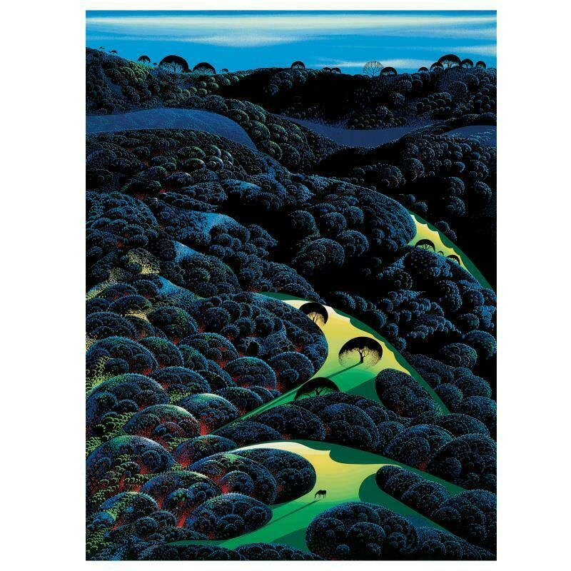 Three Pastures On A Hillside by Eyvind Earle