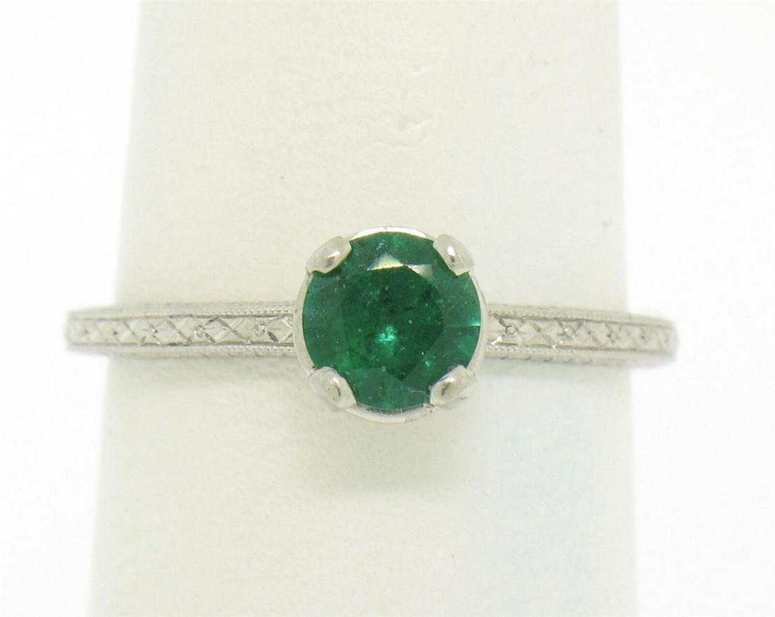 Platinum Etched Petite QUALITY .51 ctw Emerald