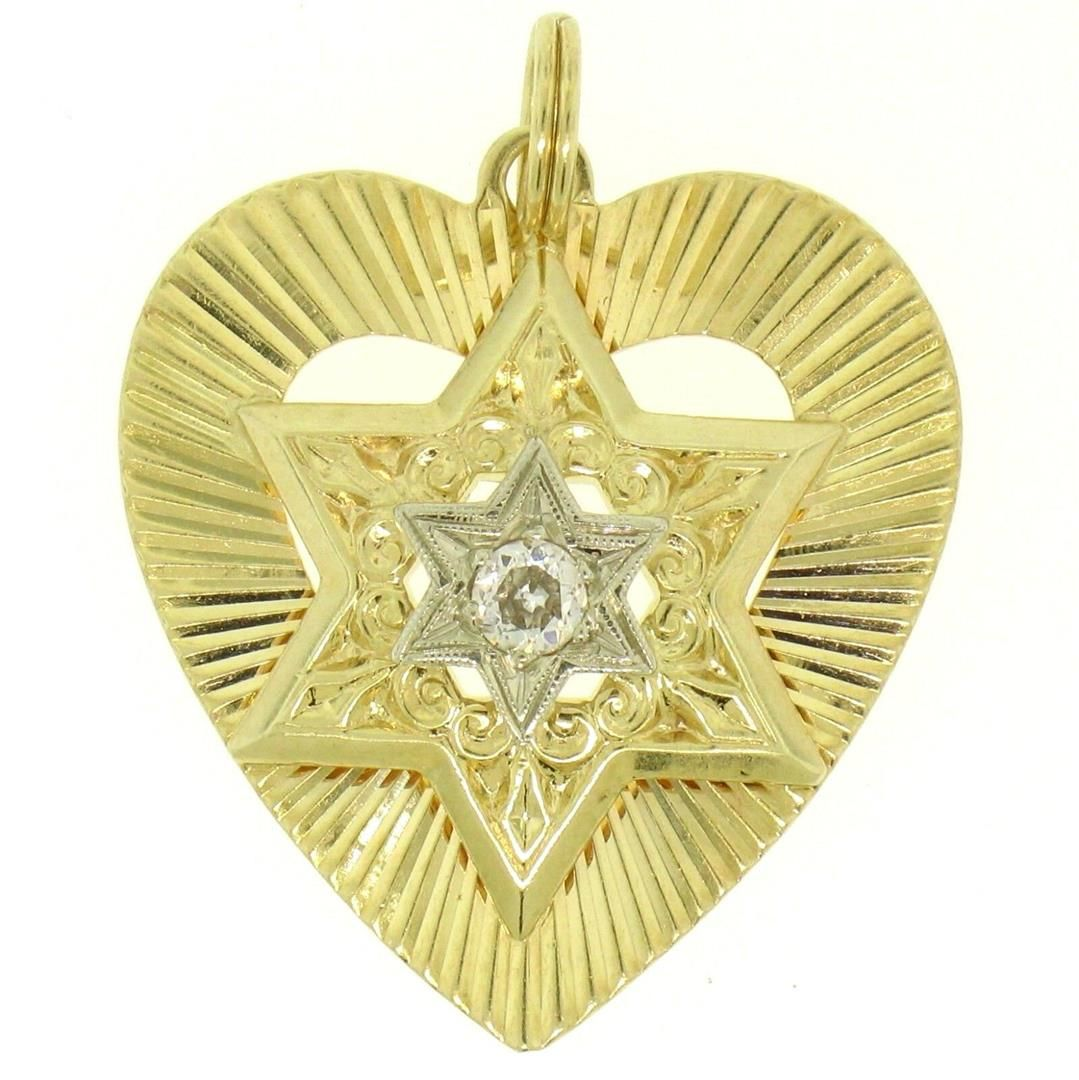 14K Two Tone Gold Heart Star of David .22 ctw Old Mine