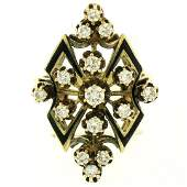 14k Yellow Gold 90 ctw Round Diamond Black Enamel