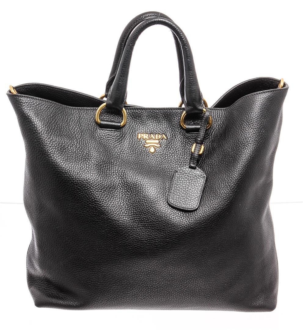 Prada Black Leather Vitello Daino Large Two-Way Bag