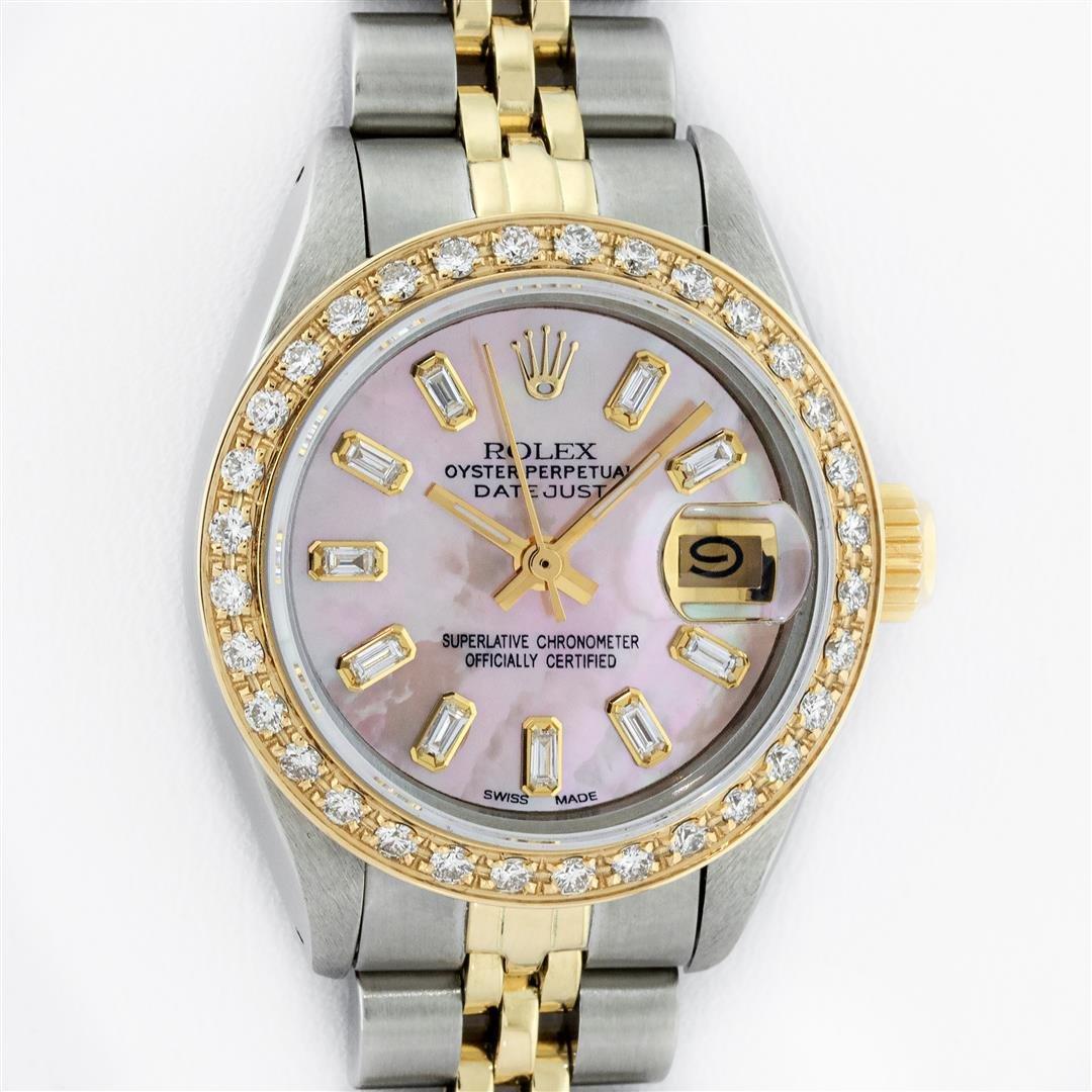 Rolex Ladies 2 Tone 18K Gold Bezel Pink MOP Baguette