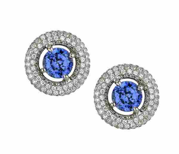 18k White Gold 3.50CTW Diamond and Blue Sapphire
