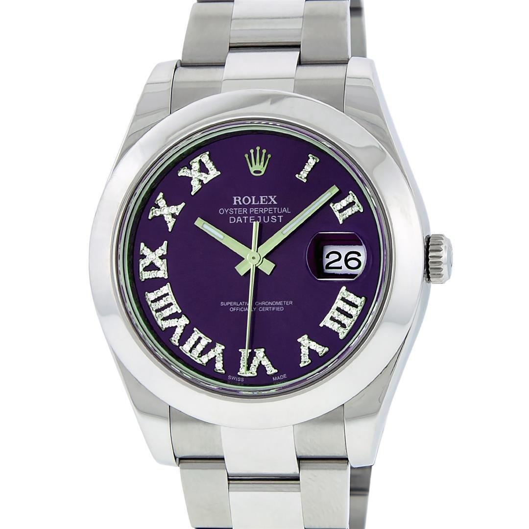 Rolex Mens SS 41MM Purple Roman Diamond Datejust 2