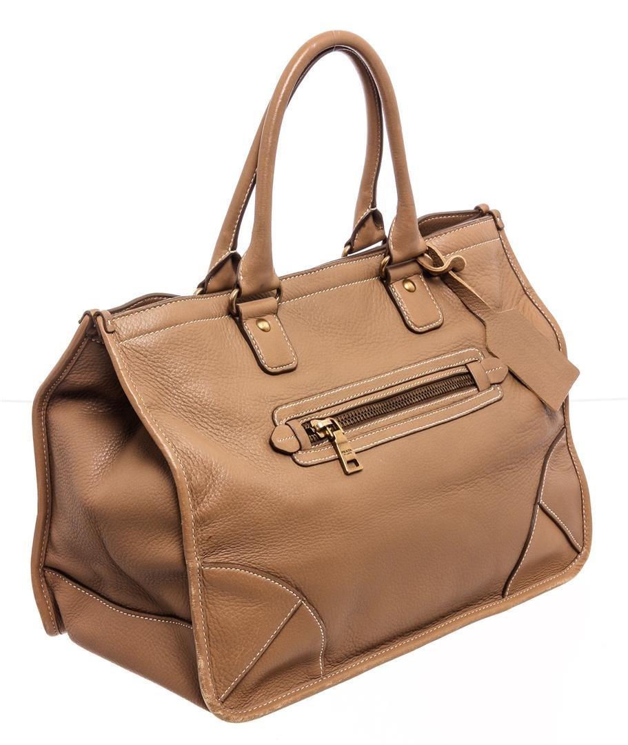 Prada Beige Leather Two-Way Medium Shoulder Bag