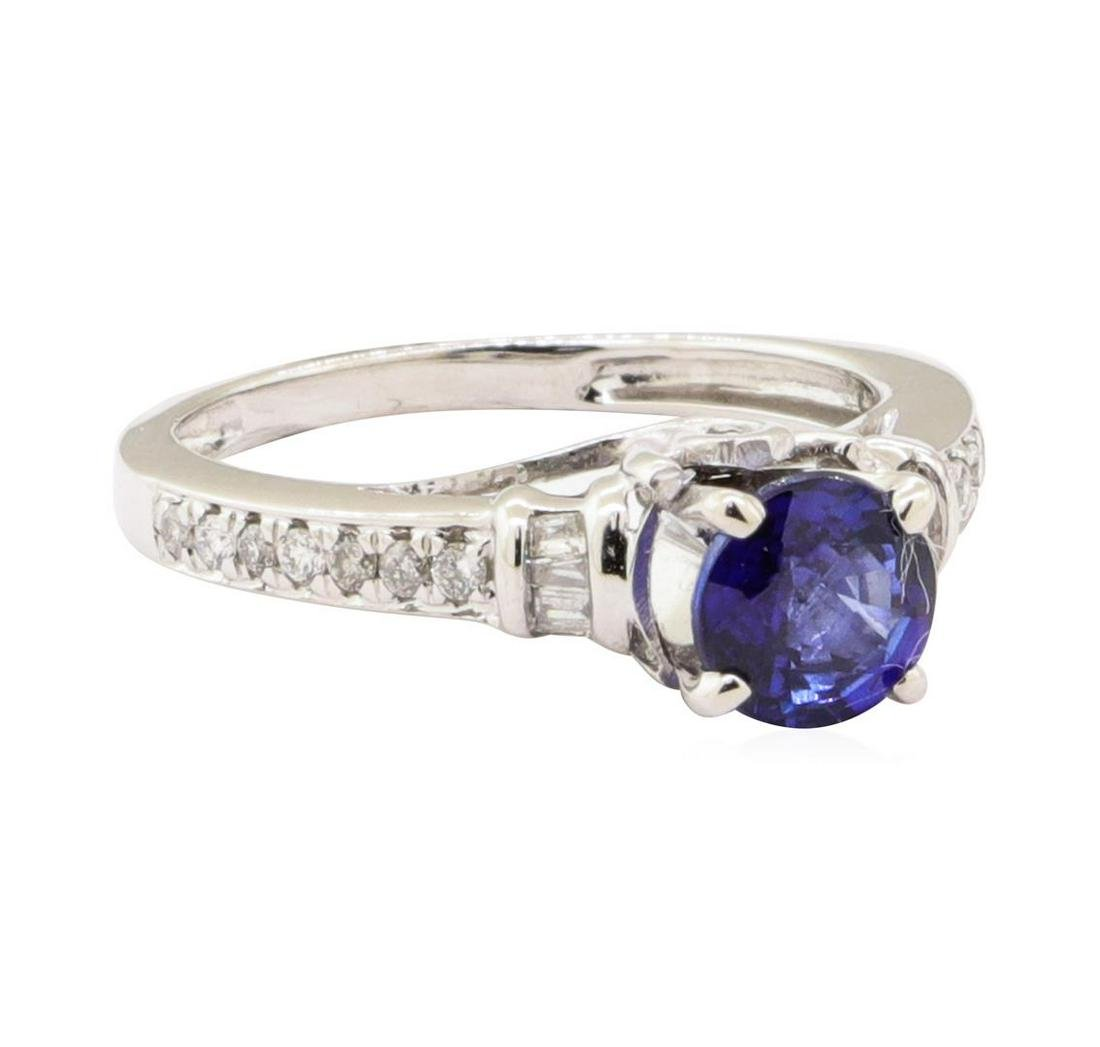 1.15 ctw Blue Sapphire and Diamond Ring - 14KT White